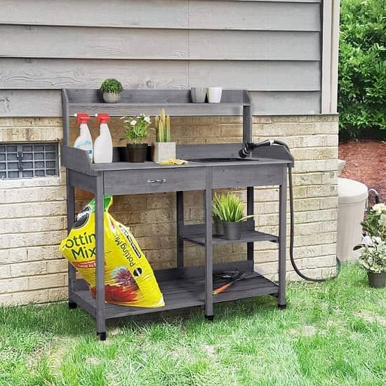 YAHEETECH Potting Bench With Sink