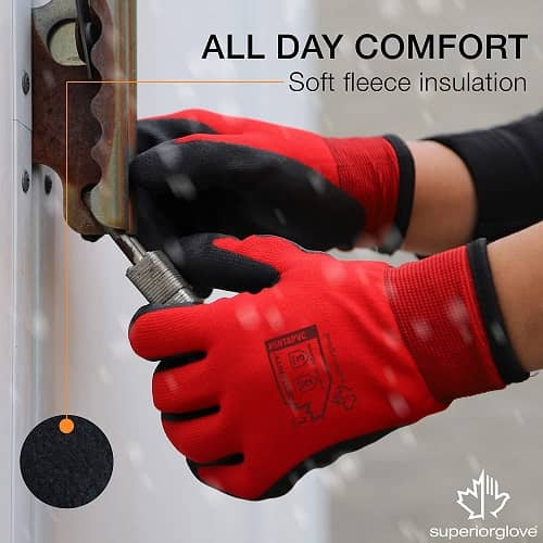 Superior Winter Work Gloves - Fleece-Lined with Black Tight Grip Palms