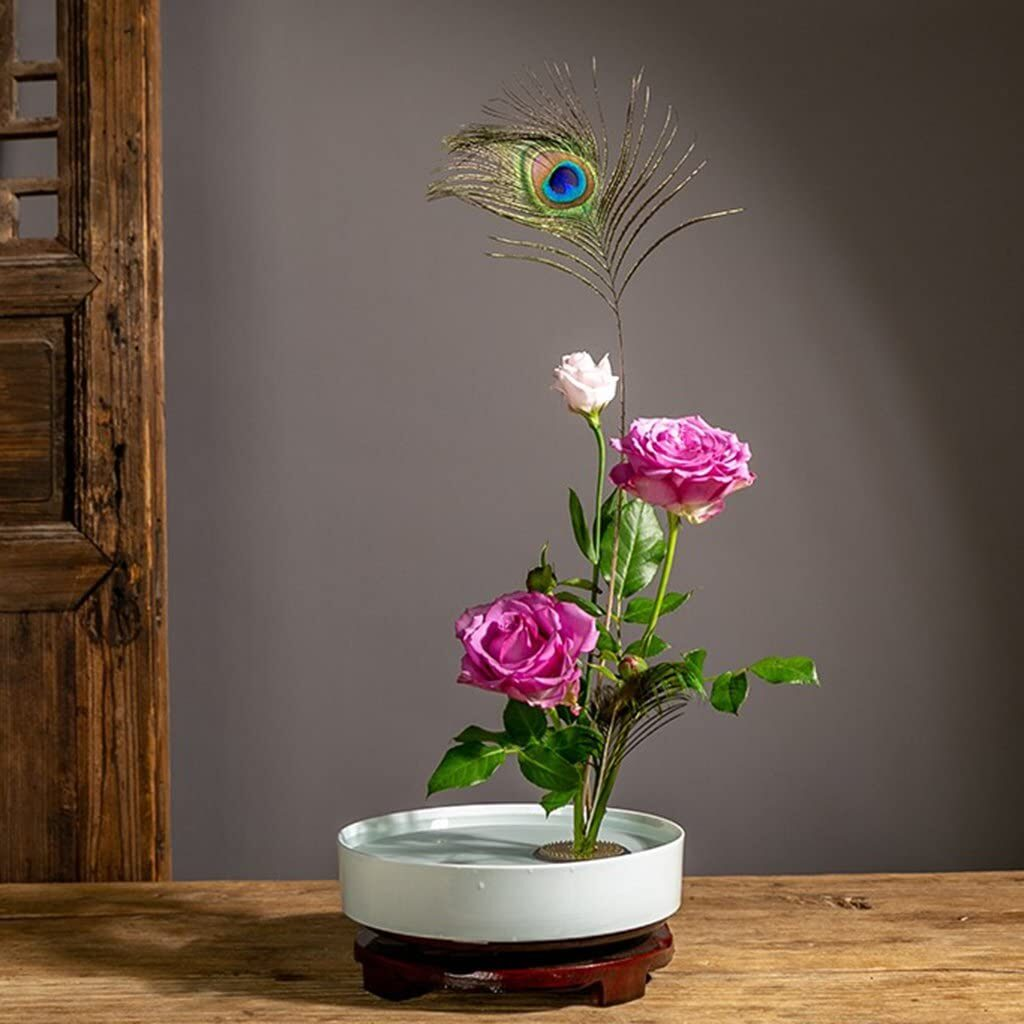 Classic Round Suiban Vase Pot Tray Container for Ikebana Flower Arrangements - White 28cm